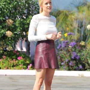 Derek Lam 10 Crosby • Leather Maroon A-line Skirt